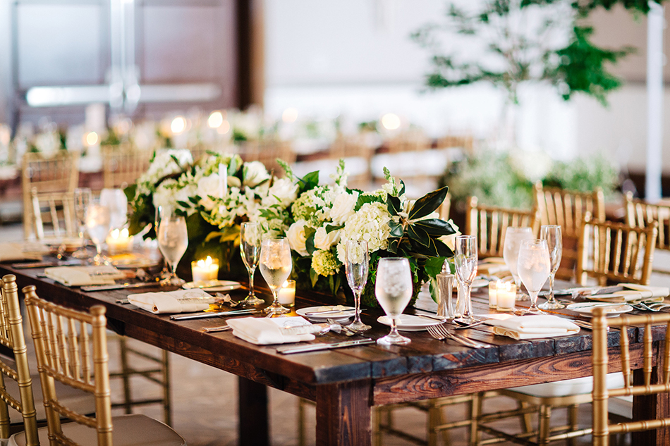 wooden farm tables wedding