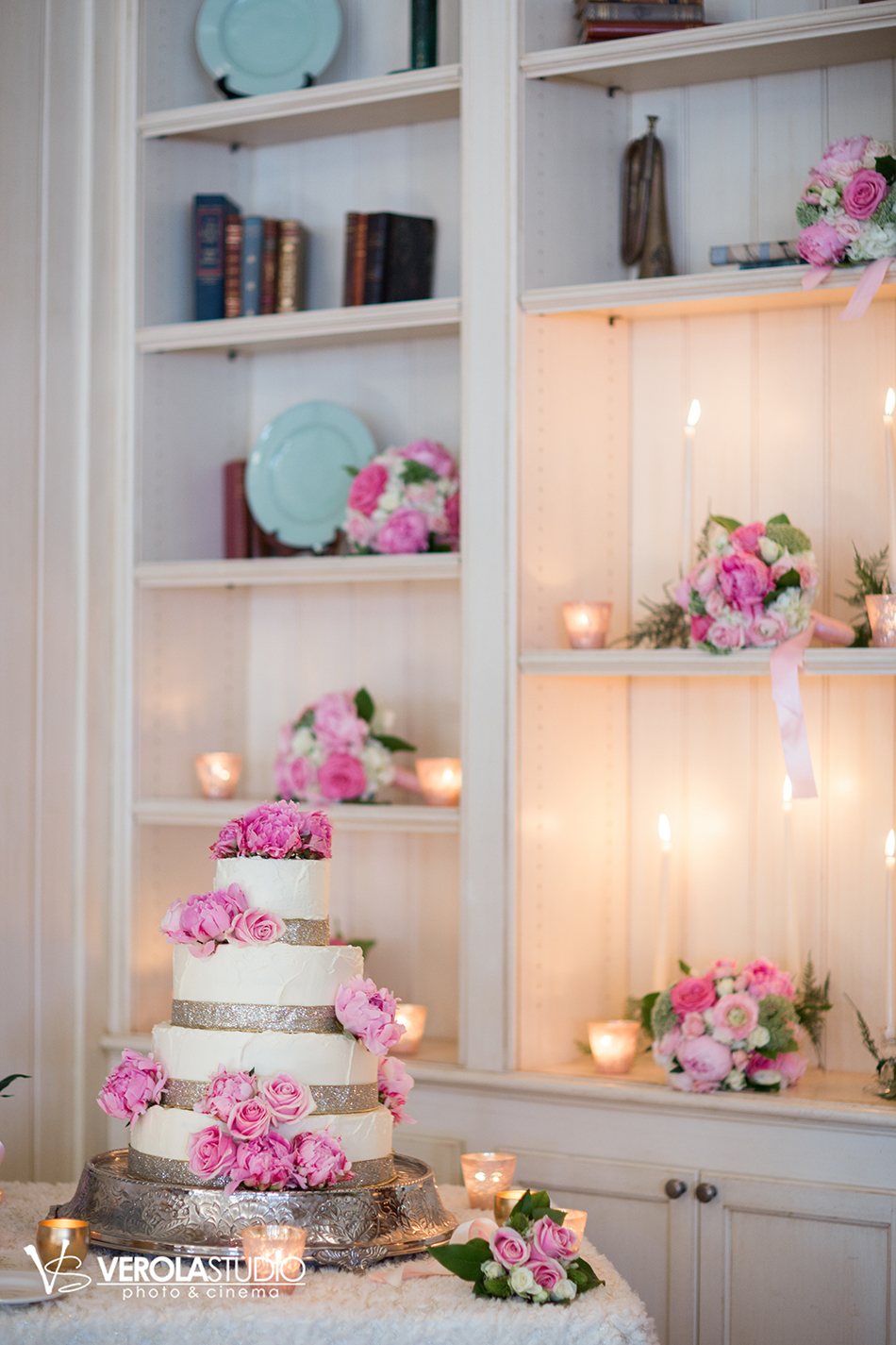 pink floral wedding cake rose