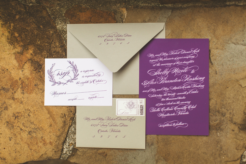 Plum and Ivory Invitations