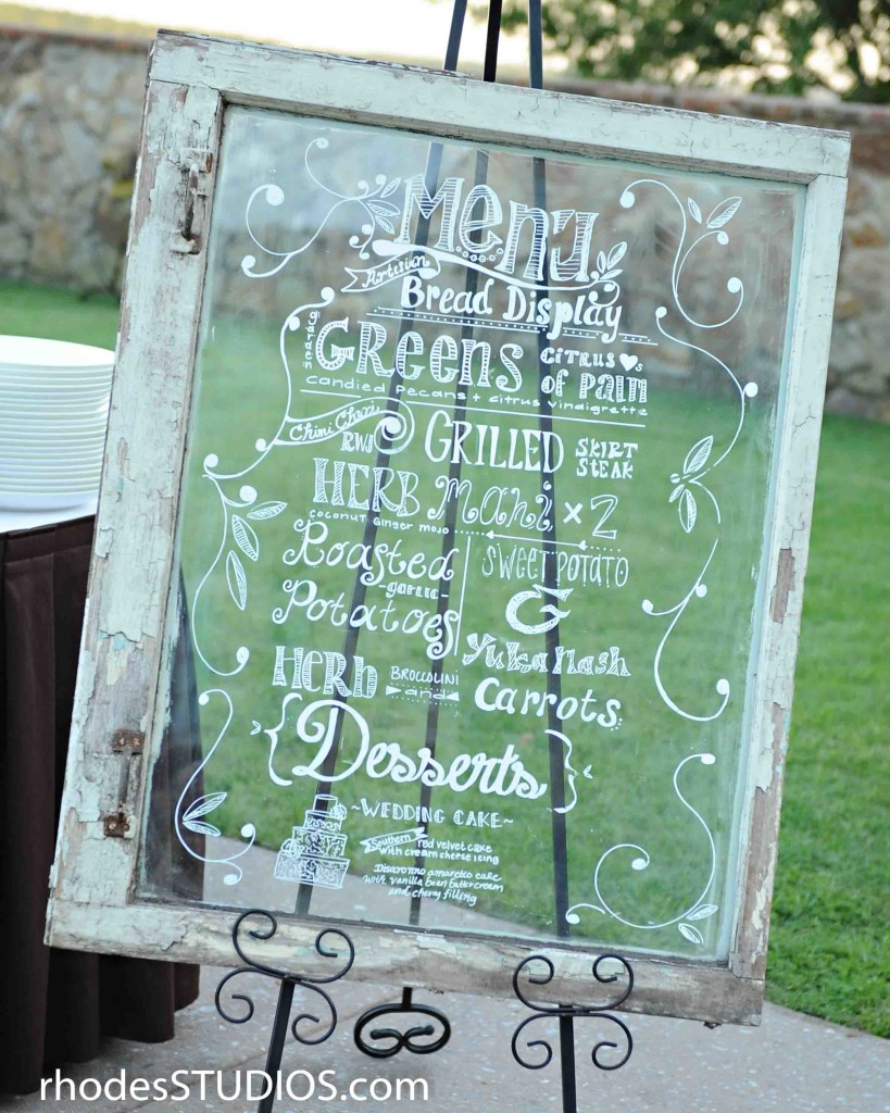 Vintage Window Menu for Wedding