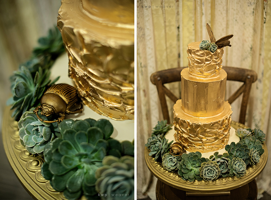 gold rustic wedding cake