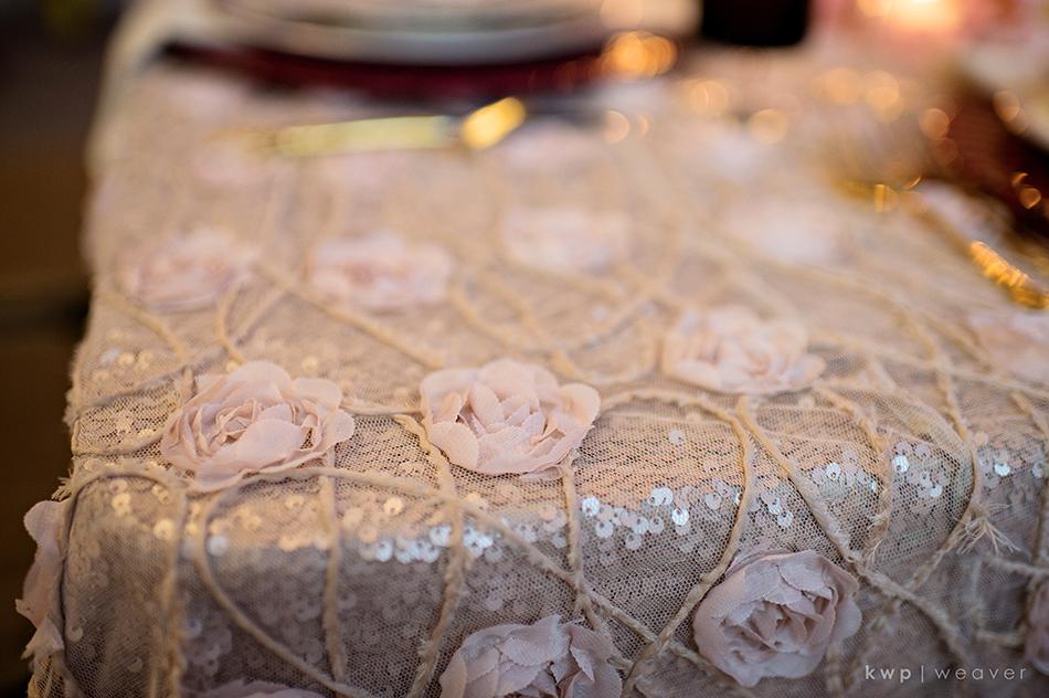 sequins floral linens