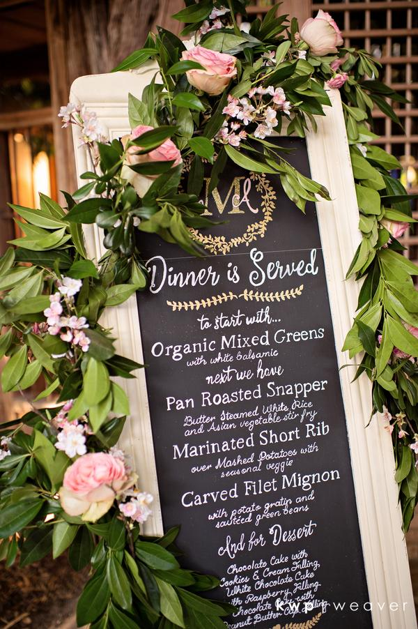 Vero Beach Wedding chalkboard menu