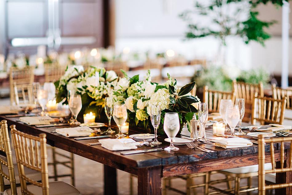 wooden farm tables wedding