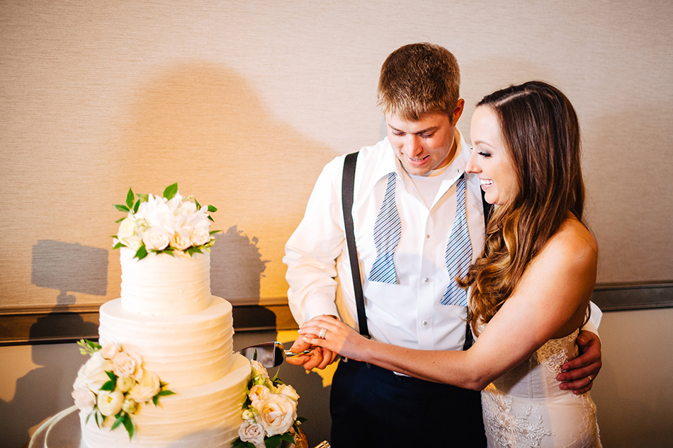 just married cake cutting
