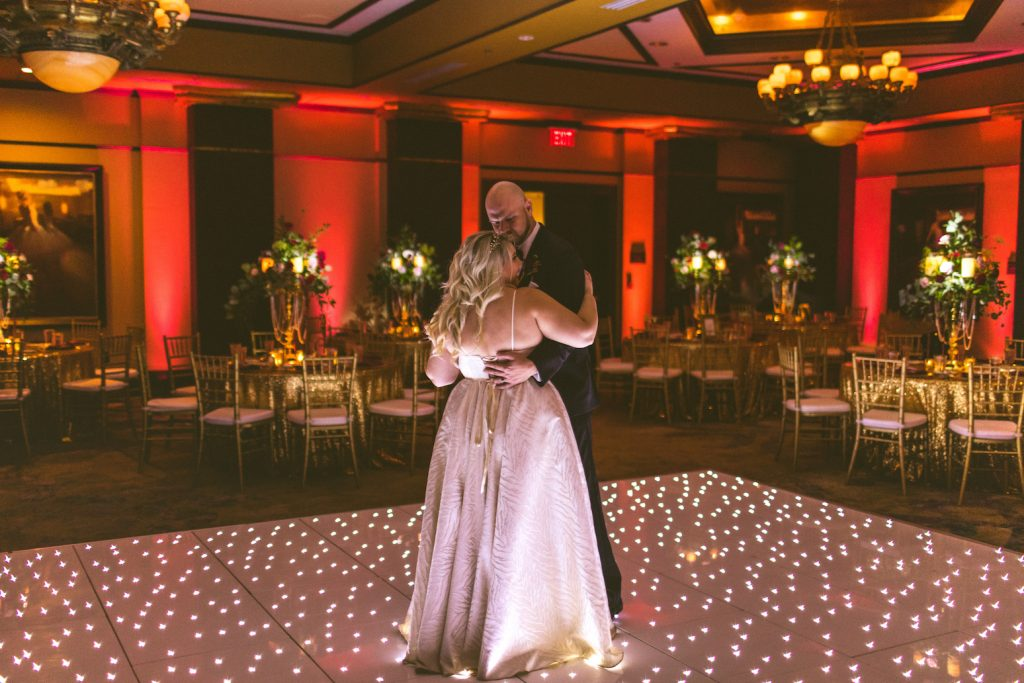 AATR Weddings Wedding PLanner Grand Bohemian Reception Inspiration Light Up Dance Floor