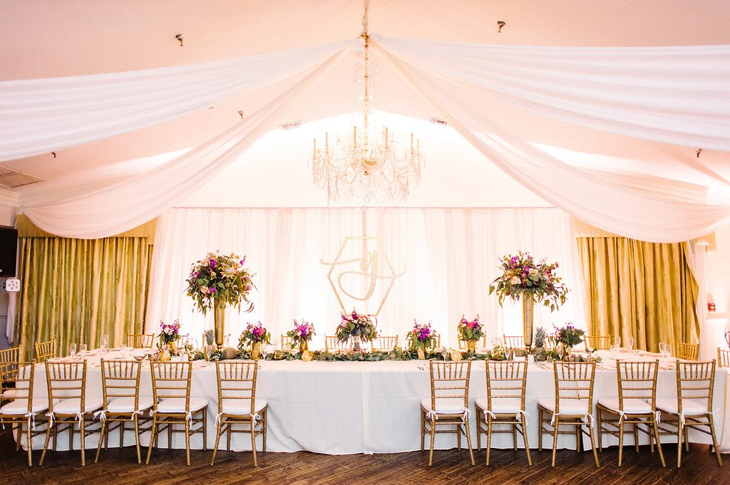 Orlando Wedding Reception Drape Head Table Wedding Planner